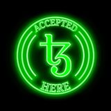 Tezos XTZ accepted here sign Stock Photo