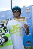 Tezuka Shota, Wakeboard team Japan. PUTRAJAYA, MALAYSIA - OCTOBER 9: Tezuka Shota from Japan wins the gold medal wakeboard category at 2011 IWWF Asian Waterski Royalty Free Stock Image