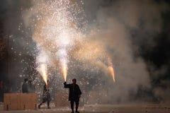 Tezutsu Hanabi (festival tenuto in mano dei fuochi d'artificio) fotografia stock