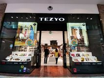 Tezyo store at mall AFI Cotroceni, Romania. Tezyo store at mall AFI Cotroceni, Bucharest, Romania - men and women shoes, sports and heel royalty free stock image