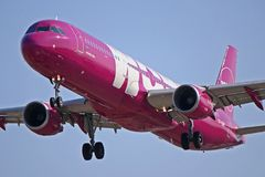 WOW air Airbus A321-200 TF-SON. TF-SON, an WOW air Airbus A321-200, is seen here on final approach to Toronto Pearson International Airport YYZ stock photo