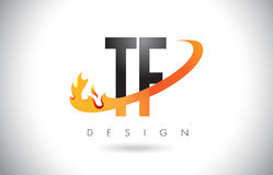 TF T F Letter Logo with Fire Flames Design and Orange Swoosh. TF T F Letter Logo Design with Fire Flames and Orange Swoosh Vector Illustration Royalty Free Stock Photo