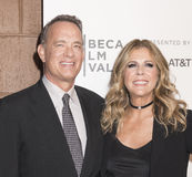TFF 2017 The Circle Premiere. NEW YORK, NY , USA - APRIL 26: Tom Hanks and Rita Wilson attend Tribeca Gala: The Circle Premiere during the 2017 Tribeca Film Royalty Free Stock Images