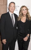 TFF 2017 The Circle Premiere. NEW YORK, NY , USA - APRIL 26: Tom Hanks and Rita Wilson attend Tribeca Gala: The Circle Premiere during the 2017 Tribeca Film Royalty Free Stock Image
