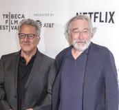 TFF 2017 - Tribeca Talks: Director`s Series:Noah Baumbach. NEW YORK, NY , USA - APRIL 24: Actors Dustin Hoffman and Robert De Niro attend Tribeca Talks: Director royalty free stock photos