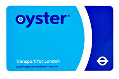 A TFL Oyster Card in London on a white background Stock Photos