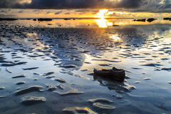 Tg Aru Sunrise. December 1st 2016, Labuan Malaysia.  Bad shoe with beautiful sunrise at Tg Aru beach Stock Images