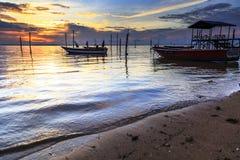 Tg Aru Sunrise. December 1st 2016, Labuan Malaysia. Bad shoe with beautiful sunrise at Tg Aru beach. 05 Stock Images