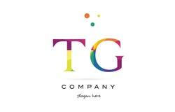 tg t g creative rainbow colors alphabet letter logo icon royalty free illustration