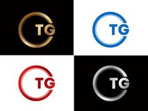 Tg-Textgoldschwarze silberne moderne kreative Alphabetbuchstabelogoentwurfs-Vektorikone lizenzfreie abbildung
