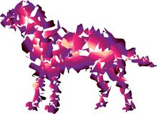 Cool smooth Dog. Purple and pink colors. vector illustration