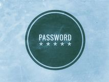The word password on the blue color vector illustration