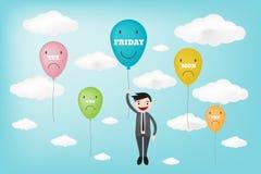 TGIF счастливая пятница показанная в концепции баллона (стиле eps1 вектора Стоковое Фото