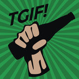TGIF with Glass bottle in hand Stock Images
