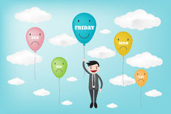 TGIF happy friday displayed in ballon concept (vector style eps1 Stock Photo