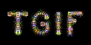 TGIF text word colorful fireworks. TGIF text word written with sparkle fireworks on back sky / background Stock Photos