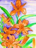 Tägliche Lilien der Orange Lizenzfreie Stockfotos