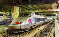 TGV Atlantique trainset at Montparnasse railway station Royalty Free Stock Photo