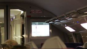 TGV fast train speed on digital display stock footage