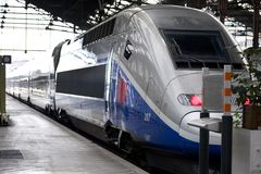 TGV - french high speed train. Train staying on the park Stock Images