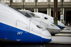 TGV - french high speed train. Train staying on the park Royalty Free Stock Image