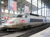 TGV high speed train. In the North train station in Paris Gare du Nord stock photo