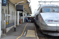 TGV train in Chatellerault station, France Royalty Free Stock Photos