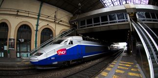 TGV Train in Lyon station Stock Photos