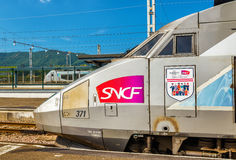 TGV trainset with the logo of UEFA Euro-2016 at Hendaye railway station Royalty Free Stock Photo