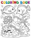 Thème 1 de récif coralien de livre de coloriage Photographie stock libre de droits
