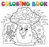 Thème 3 de champignon de couche de livre de coloriage Image libre de droits