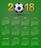 Thème 2018, calend français du football de calendrier arrière de ballon de football de toile Image stock