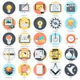 Thème créatif de conception, style plat, coloré, ensemble d'icône Image libre de droits