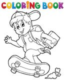 Thème 1 d'écolier de livre de coloriage Image stock