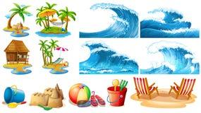 Thème d'été avec des vagues et des îles de bleu illustration libre de droits