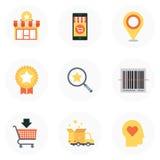 Thème d'achats, style plat, coloré, ensemble d'icône Images stock