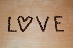 Thème d'amour des grains de café Photo libre de droits