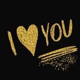 Thème d'amour Texture d'or de scintillement d'étincelle Photos stock