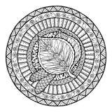 Thème d'automne Ornement tribal de griffonnage de cercle Mandala tiré par la main d'art de feuille de bouleau Photos stock
