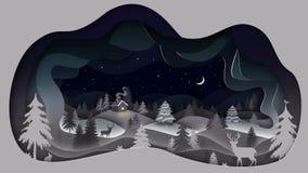 Thème 1 d'hiver Une nuit d'hiver illustration de vecteur