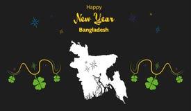 Thème de bonne année avec la carte du Bangladesh Images stock