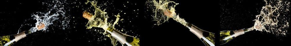 Thème de célébration avec l'explosion d'éclabousser des bouteilles de vin mousseux de champagne sur le fond noir Anniversaire, no photographie stock libre de droits
