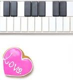 Thème de clavier de coeur de rose de biscuit de mélomane Images stock