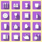 Thème de cuisine d'icônes Photographie stock libre de droits