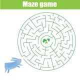 Thème de gibier de labyrinthe Aidez l'herbe de découverte de lapin Activité pour des enfants et des enfants illustration de vecteur