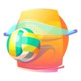Thème de jeu de sport collectif de volleyball avec la boule et la cour Images stock