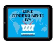 Thème de jour de droits des utilisateurs du monde Panier à provisions, carte du monde sur l'ordinateur de PC de comprimé d'écran  Image stock