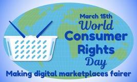 Thème de jour de droits des utilisateurs du monde Panier à provisions pour le fond de la carte du monde et de ressembler à une in Images stock