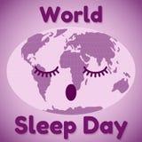 Thème de jour de sommeil du monde Une carte de sommeil du monde et ressemblance d'une inscription Carte de voeux ou bannière dans Images stock