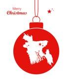 Thème de Joyeux Noël avec la carte du Bangladesh Photos libres de droits